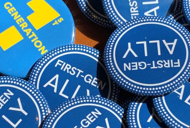 Blue buttons that have messages of support for first generation students at UCLA